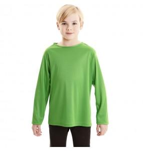 Camiseta verde infantil de manga larga