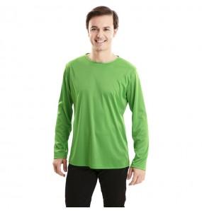 Camiseta verde para adulto de manga larga