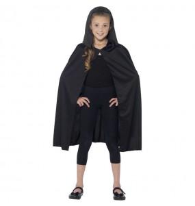 Capa con capucha negra infantil