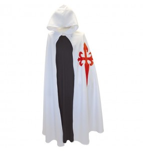 Capa Cruzado Medieval Blanca para adulto