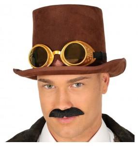 Chistera Steampunk Marrón con gafas