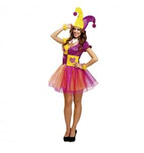 Disfraz de Arlequín Bufona de Picas para mujer