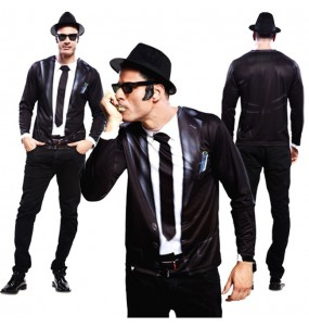 Disfraz Camiseta Hiperrealista Blues Brothers adulto
