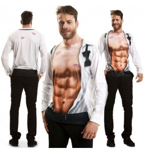 Disfraz Camiseta hiperrealista Ejecutivo Sexy adulto