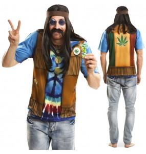 Disfraz Camiseta hiperrealista Hippie Hombre