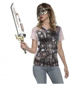 Disfraz Camiseta Steampunk mujer