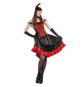 Disfraz de Can Can rojo para mujer