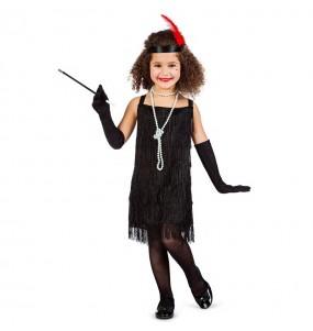 Disfraz de Charlestón flecos negros para niña