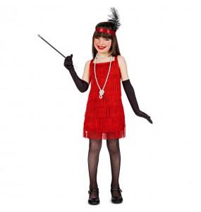 Disfraz de Charlestón flecos rojos para niña
