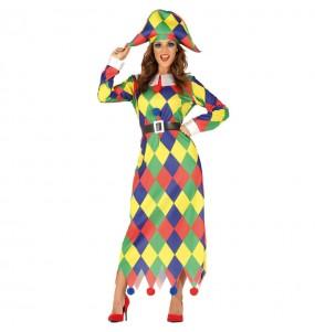 Disfraz de Arlequín Multicolor para mujer