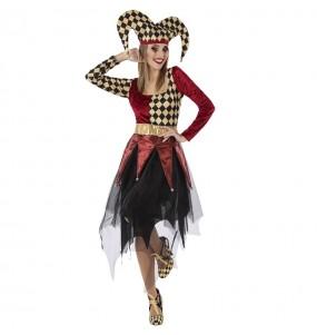 Disfraz de Arlequín Rojo para mujer