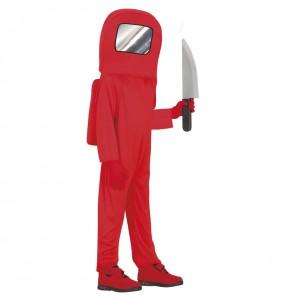 Disfraz de Astronauta Among us rojo para niño