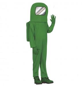 Disfraz de Astronauta Among us verde para niño