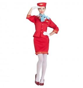 Disfraz de Azafata Vuelo Roja para mujer