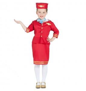 Disfraz de Azafata Vuelo Roja para niña