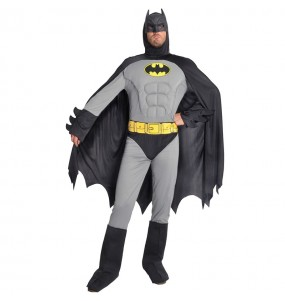 Disfraz de Batman musculoso gris para hombre
