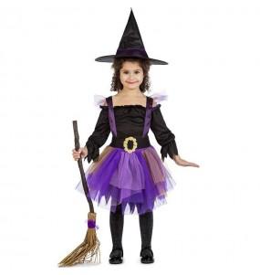 Disfraz de Bruja morada con tutú para niña