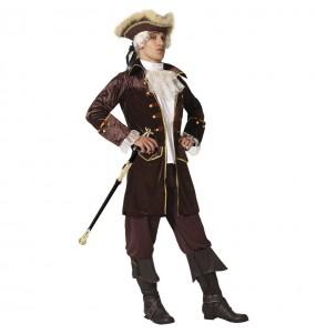Disfraz de Capitán pirata marrón para hombre