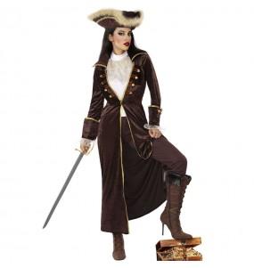 Disfraz de Capitán pirata marrón para mujer