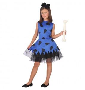 Disfraz de Cavernícola Picapiedra azul para niña