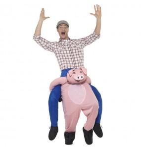 Disfraz de Cerdo a hombros para adulto