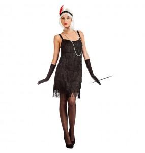 Disfraz de Charlestón Flecos Negros para mujer