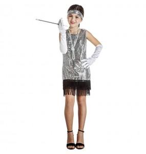Disfraz de Charlestón Plata con lentejuelas para niña