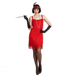Disfraz de Charlestón rojo con flecos para mujer