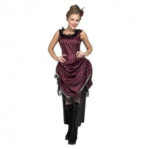 Disfraz de Chica Salón Granate para mujer