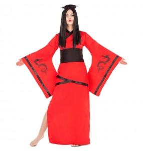 Disfraz de China Dragón Rojo para mujer
