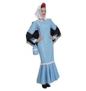 Disfraz de Chulapa azul para mujer