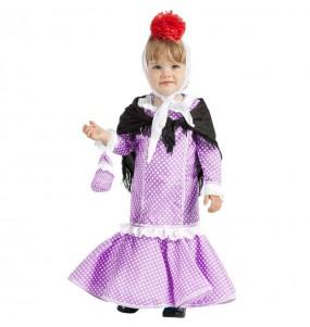 Disfraz de Chulapa lila para bebé