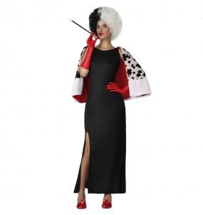 Disfraz de Cruella de Vil con capa para mujer