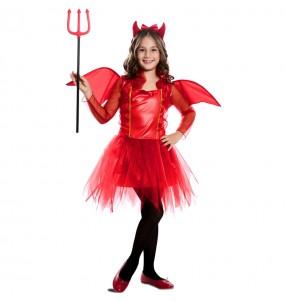 Disfraz de Diablesa roja con alas para niña