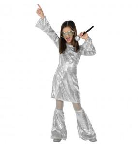 Disfraz de Disco plata con lentejuelas para niña