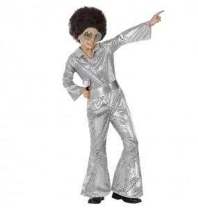 Disfraz de Disco plata con lentejuelas para niño