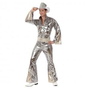 Disfraz de Disco Plateado para hombre