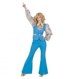 Disfraz de Discotequera Azul para mujer
