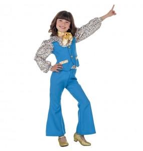 Disfraz de Discotequera Azul para niña