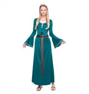 Disfraz de Doncella Medieval Verde para mujer