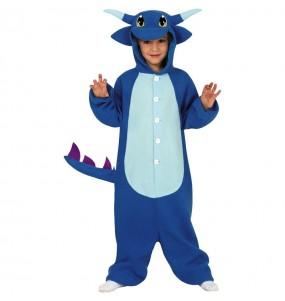Disfraz de Dragón Azul Kigurumi para niño