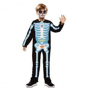 Disfraz de Esqueleto azul día de los muertos para niño