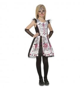 Disfraz de Esqueleto Catrina Blanco para niña