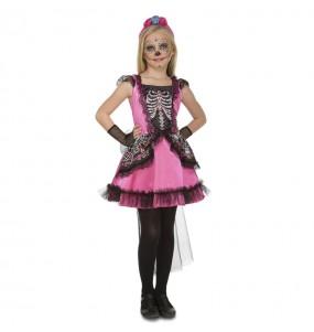Disfraz de Esqueleto Catrina Rosa para niña