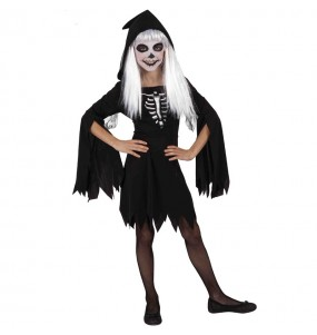 Disfraz de Esqueleto con capucha para niña