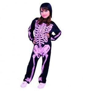Disfraz de Esqueleto con huesos rosas para niña