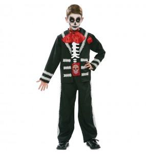Disfraz de Esqueleto mexicano negro para niño