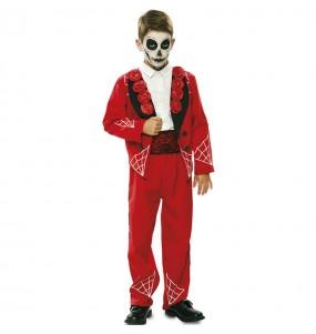 Disfraz de Esqueleto mexicano rojo para niño