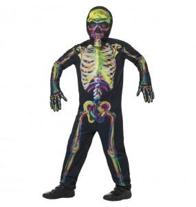 Disfraz de Esqueleto multicolor para niño