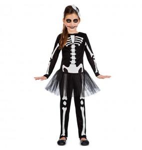 Disfraz de Esqueleto negro con tutú para niña
